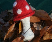 """Baby Rattle - Classic German """"Flying Mushroom"""", red & white, hand knitted and felted"""