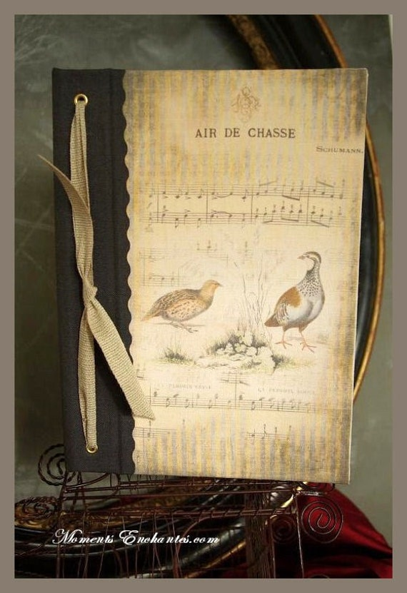 Saint Valentin Hunting venery book very nice journal write in French  vintage pictures Red and grey partridge your name on the cover