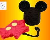 Mickey Mouse and Minnie Mouse Inspired  Diaper Cover & Hat Crochet Patterns size newborn thru 12 months SALE!