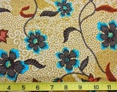 Mustard Floral Batik Fabric - Buy More and Save
