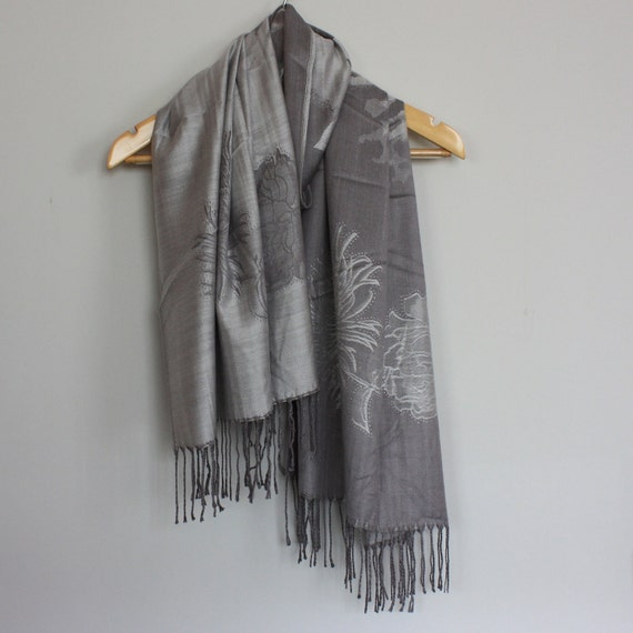 Grey/Silver Pashmina Shawls/Reversible Shawl - Buy more and Save on Shipping