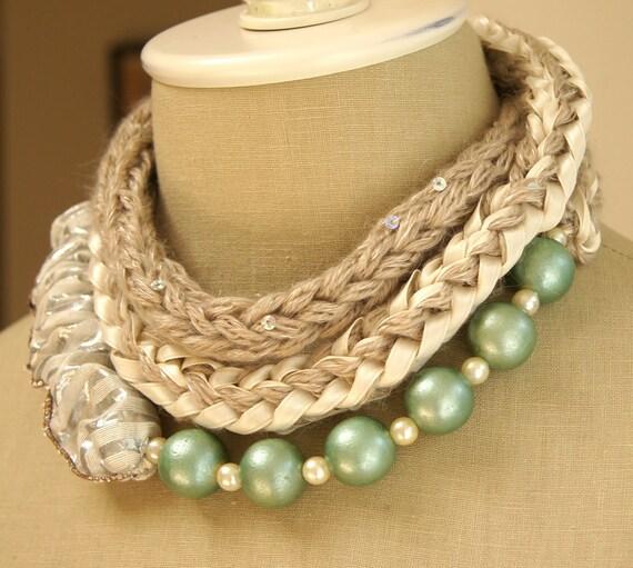 Aquamarine necklace with silk kushu-kushu and beads