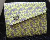 Purple and Lime Designer Leaf Fabric BLING iPad Holder Clutch Folder with Silicone Skin Unique Style and Elegance