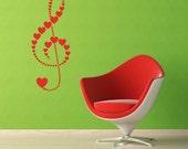 Treble Clef, Hearts - Decal, Sticker, Vinyl, Wall, Home, Music, Musical, School Decor
