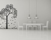 Tree with Falling Leaves, Bird - Decal, Sticker, Vinyl, Wall, Home, Dining Decor