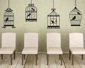 Bird Cage Decal, Bird Cage Decor, Bird Decor, Bird Decal, Wrought Iron Decor, Wrought Iron Decal, Set of 4, Home Decor, Bedroom Wall Art