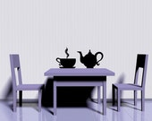Tea Pot and Cup - Decal, Sticker, Vinyl, Kitchen, Dining, Home, Wall, Restaurant Decor