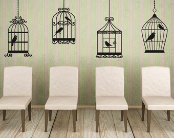 Bird Cage Decal Bird Cage Decor Bird Decor Bird Decal Wrought Iron