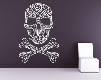 Skull Decor, Skull Decal, Skull and Crossbones, Pirate Decal, Pirate Decor, Wall Art, Home Decor, Holiday Decor, Halloween, Bedroom Decor.
