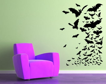 Flock of Bats, Halloween, Gothic, Holiday, Bat, Fly, Man - Vinyl, Sticker, Decal, Wall Decor, Home, Great Room, Bedroom