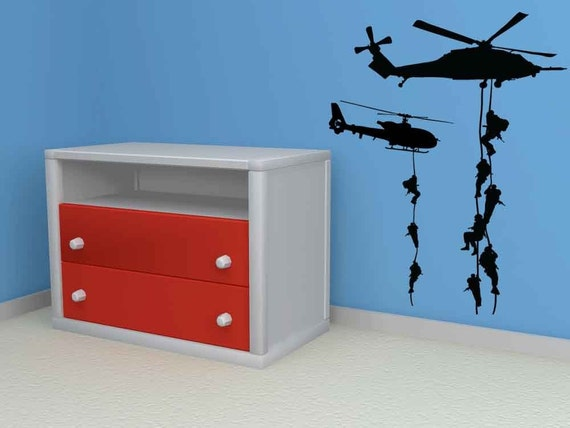 Military, Army, Navy, Airforce, Marines with Choppers/Helicopters - Vinyl, Decal, Sticker, Wall, Home Decor