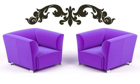 European, Horizontal Wall Art, Fleur de lis, Baroque, Victorian Decor, Wall Decal, Sticker, Vinyl, Wall Art Decal, Home, Office, Dorm Decor