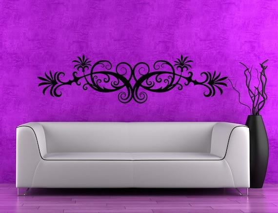 Horizontal Wall Art Swirl Decal Leaf Decal by
