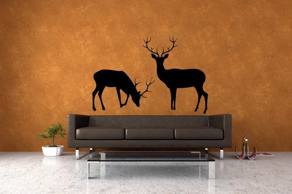 Deer Family, Art, Deer Antler, Deer Decor, Buck and Doe, Deer Decal, Deer Wall Decal, Deer Art, Hunt, Hunting, Holiday Decor, Wall Decal