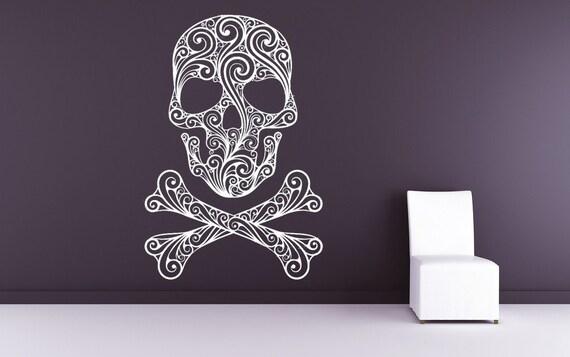 Skull Decor, Skull Decal, Skull and Crossbones, Pirate Decal, Pirate Decor, Wall Art, Home Decor, Holiday Decor, Halloween, Bedroom Decor.