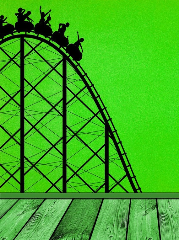 Roller Coaster Carnival Amusement Park Wall By
