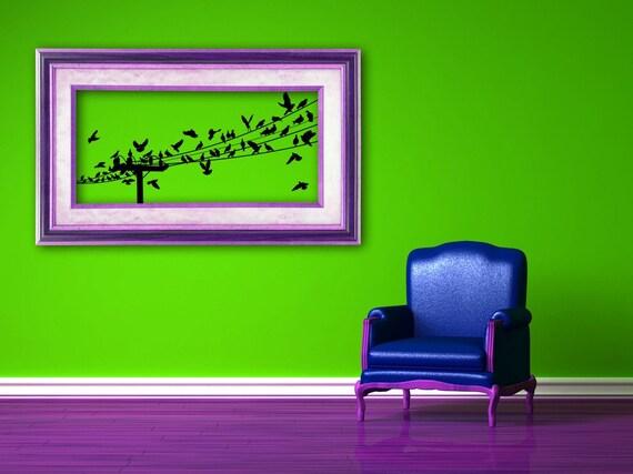 Vogel Aufkleber Vögeln auf einem Draht Wandkunst