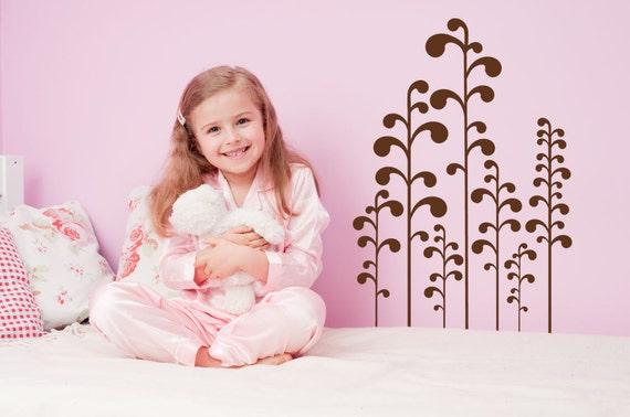 Plant Decal, Plant Decor, Wall Decal, Foliage, Whimsical, Burtonesque, Vinyl, Sticker, Kids Bedroom Decor, Home Decor, Nursery Wall Art