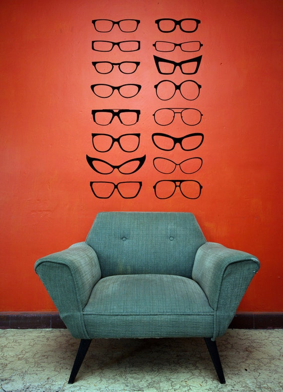 Four Eyes Eye Glasses Cat Eyes Frames Decal Sticker
