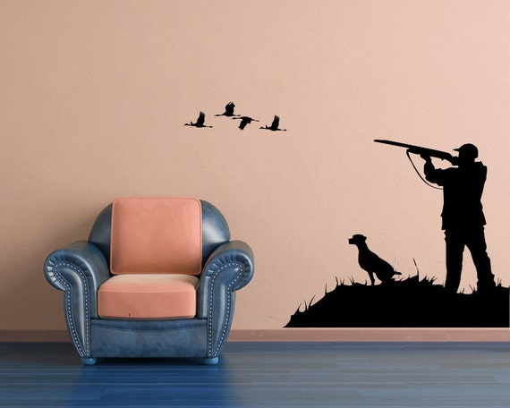 Hunter vinyl decal hunting wall decal bird by vinylwallaccents for Hunting wall decals