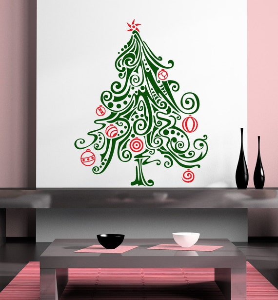 Liamaria Christmas Tree Wall Decoration : Items similar to christmas tree of swirls with ornaments