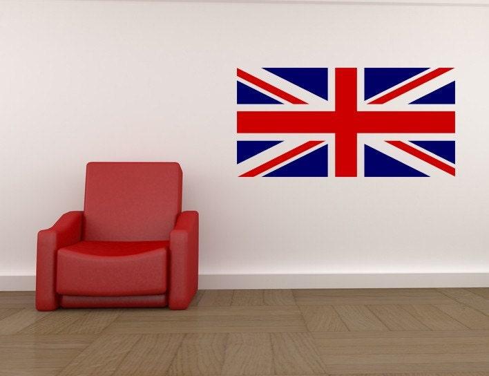 British flag british decor union jack flag by vinylwallaccents for Decoration murale union jack