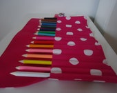 Handcrafted Hot Pink Polka Dot Colouring Pencil Roll (Includes 16 Coloured Pencils)