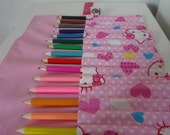 Handcrafted Hello Kitty Colouring Pencil Roll (Includes 16 Coloured Pencils)