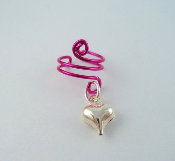 Ear Cuff Silver Heart Charm, 12 cuff colors available