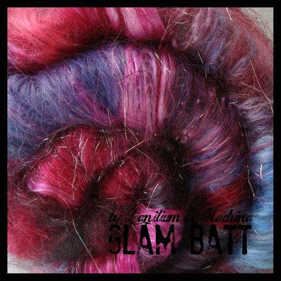 spinning fiber batt RIOTING NIGHTLIFE - GLAM Art Batt - alpaca camel faux angora milk mohair shetland silk noil tencel silk sparkle 3.2oz
