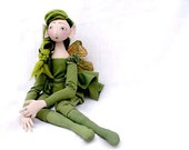 Summer Green Fairy pixie elf OOAK Fantasy Art Doll Spring jointed handmade handpainted cloth, soft doll St.Patrick's Day, summertrends