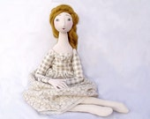 HONEY GOLD OOAK  jointed art doll Handmade Soft Sculpture Fabric doll  Mothers day, handpainted romantic vintage spring pastel cloth doll