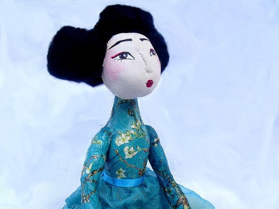 Turquoise, japanese, handmade, handpainted, OOAK, handsewn,  turquoise with cherry flower geisha art doll, Summertime summertrends