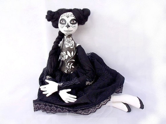 Mexican folk OOAK ART DOLL Day of the Dead Halloween Dia de los muertos  black white soft sculpture soft doll cloth doll
