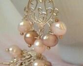 Freshwater Pearl & Silver Heart Earrings