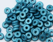 "50pcs Blue ""Metallic"" Round Ceramic Beads C 10 046"