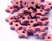Pink Ceramic Star Beads - 30 pcs C 10 066