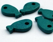 Turquoise Ceramic Fish Beads 5pcs - C 10 041