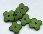 Green Flower Ceramic Beads  6pcs BC046