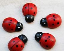 10 pcs Large ladybugs wooden stickers  U 80 008