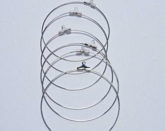 20 Beading Hoops, Silver Earring Hoops beading hoops 40mm F 20 044