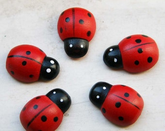 10 pcs Large ladybugs wooden stickers  U 80 008