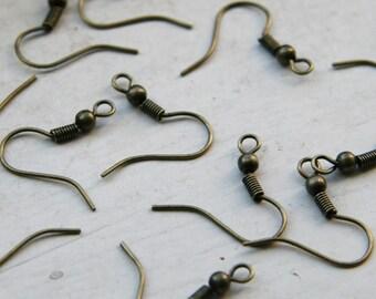 Antique Bronze Earring Hooks,  Earring Wires 100pcs F 20 043