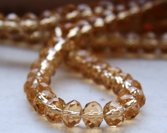 GOLD Faceted Glass Rondelles Crystal beads - 6x4mm G 50 021 45 pieces