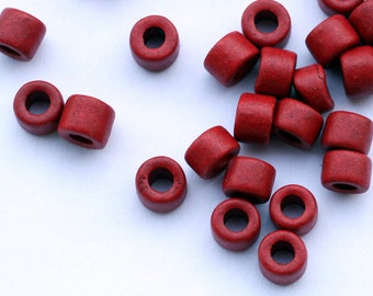 Red Tube ceramic beads 30 pcs C 10 035