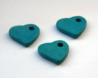 Large Turquoise Heart Ceramic Pendant 3pcs C 10 048