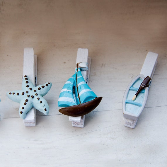Sea Wooden Clips / Pegs - suitable for decoration (pack of 3)