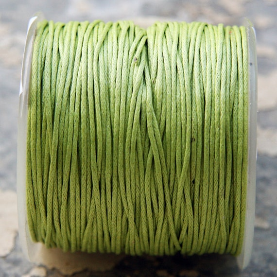Light Green Waxed Cotton Cord (1mm) 10 m- 11 yards S 40 044