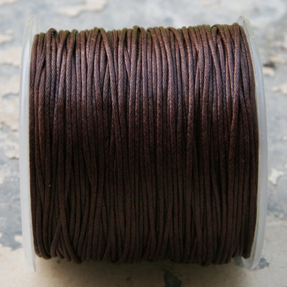 Brown Waxed Cotton Cord (1mm) 10 m- 11 yards S 40 046