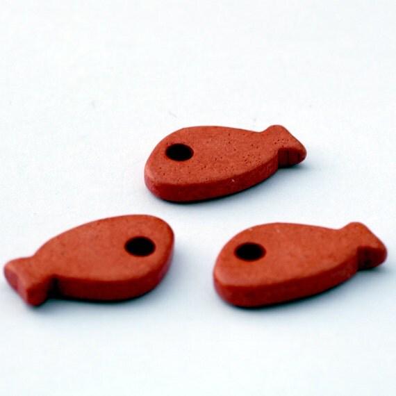 Orange Ceramic Fish Beads 3pcs - BC038